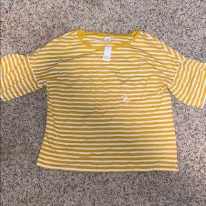 Gap yellow and white striped top size Large